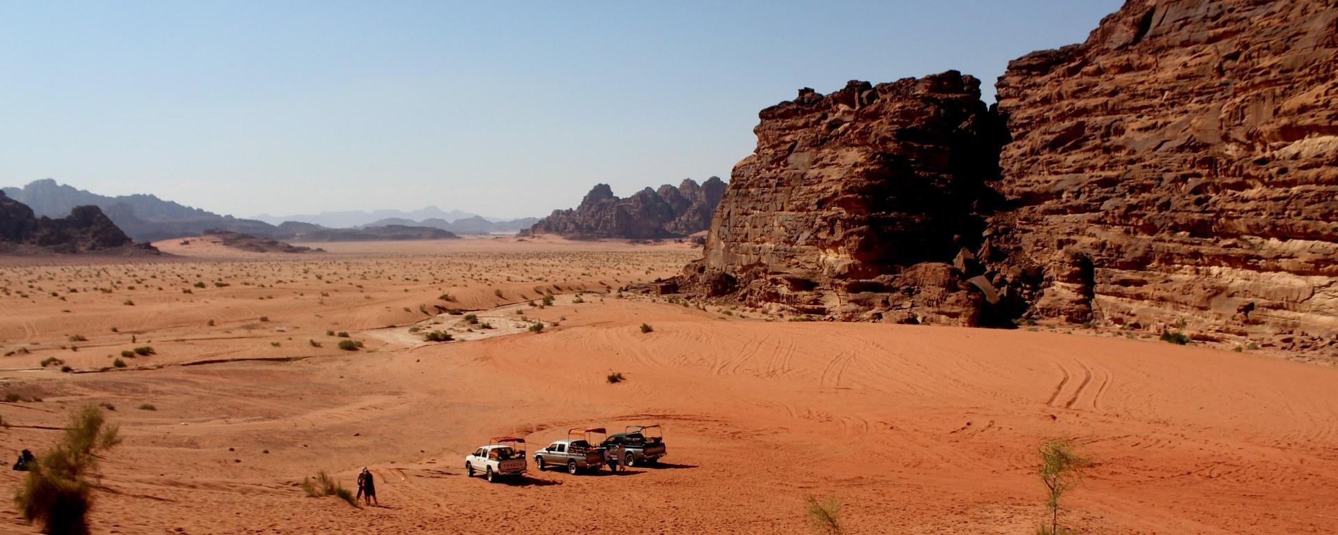 Trip from Petra to Wadi Rum Desert Jordan.